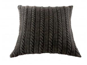 """Megztas merinosų vilnos dekoratyvinės pagalvėlės užvalkalas """"Klasika"""" (juodas)"""