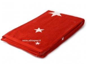 """Šukuotinės medvilnės rankšluostis """"Stars"""" (red) 85x200 cm"""