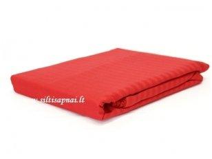 "Juostuoto satino paklodė su guma  ""Dream"" (Red) (90x200 cm)"