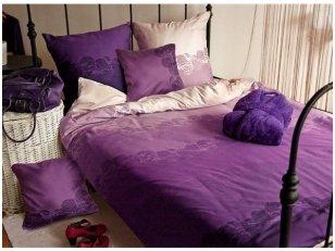 """Satino patalynės komplektas """"Purpurinis vakaras"""" (200x220 cm, 70x80 cm, visi užsegimai su užtrauktukais)"""