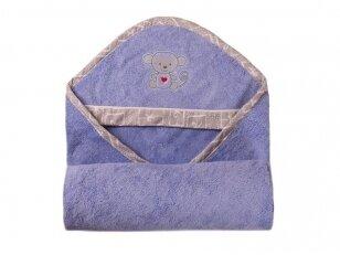 """Bambukinis rankšluostis su gobtuvu """"BAMBOO"""" (mėlynas) 100x100 cm"""
