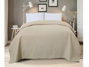 """Dygsniuotas lovos užtiesalas """"Klasika"""" kreminis (240x260 cm)"""