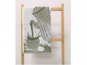 """Frotinis virtuvės rankšluostis """"Kava"""" (žalias) 50x50 cm"""