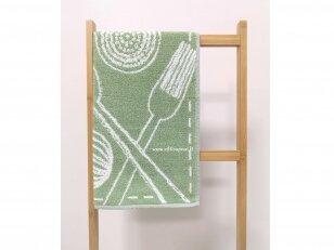 """Frotinis virtuvės rankšluostis """"Įrankiai"""" (žalias) 50x50 cm"""