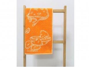 """Frotinis virtuvės rankšluostis """"Maistas"""" (apelsininis) 50x50 cm"""