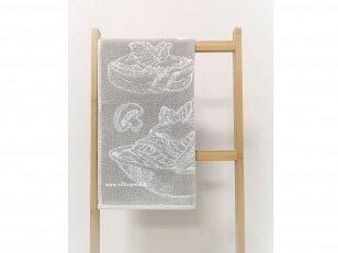 """Frotinis virtuvės rankšluostis """"Maistas"""" (pilkas) 50x50 cm"""