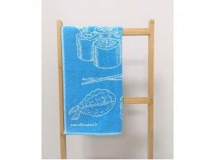 """Frotinis virtuvės rankšluostis """"Maistas"""" (mėlynas) 50x50 cm"""