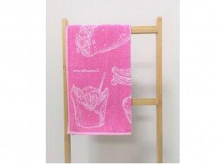 """Frotinis virtuvės rankšluostis """"Maistas"""" (rožinis) 50x50 cm"""