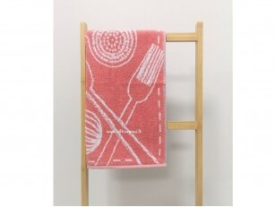 """Frotinis virtuvės rankšluostis """"Įrankiai"""" (rausvas) 50x50 cm"""