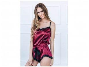 Raudono vyno spalvos moteriška pižama su petnešėlėmis