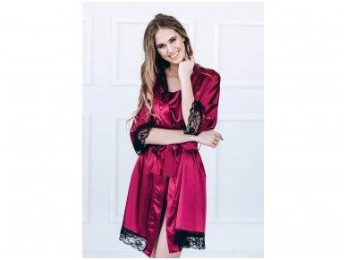 Seksuali raudono vyno spalvos pižama su nėriniais 3