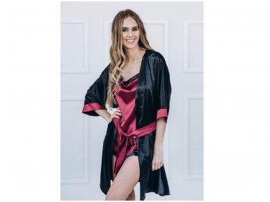 Raudono vyno spalvos moteriška pižama su petnešėlėmis 2