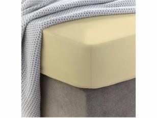 Medvilninė paklodė su guma Double cream (140x200 cm)