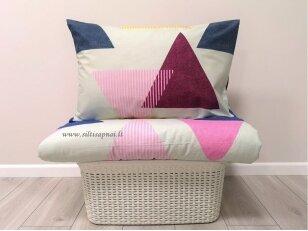 """Medvilninis pagalvės užvalkalas """"Trikampiai"""" (mėlynas)  (50x70 cm su užtrauktukais, 2 vnt)"""