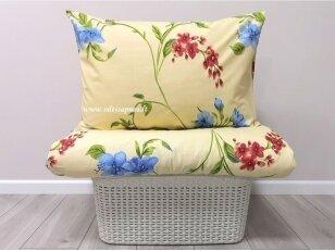 """Medvilninis pagalvės užvalkalas """"Gėlių pieva"""" (melsvos gėlės)  (50x70 cm su užtrauktuku, 1 vnt)"""