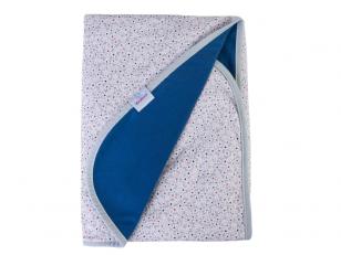 """Medvilninis pledas """"INES"""" (ramunėlės, mėlynas) 75x100 cm"""