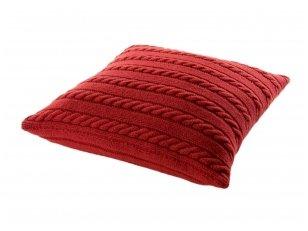 """Megztas merinosų vilnos dekoratyvinės pagalvėlės užvalkalas """"Klasika"""" (raudonas)"""