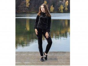 Minkšto veliūro laisvalaikio kostiumas, juodas