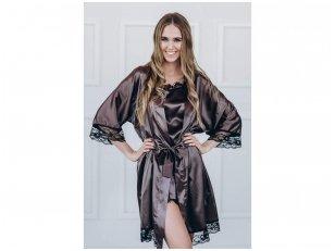 Moteriškas chalatas su prabangiais juodais nėrinukais, šokoladinė spalva