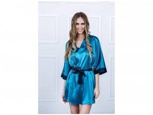 Moteriškas chalatas su tamsiai mėlynais akcentais, smaragdinė spalva