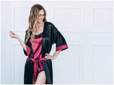 Moteriškas ilgesnis chalatas, juoda spalva 2