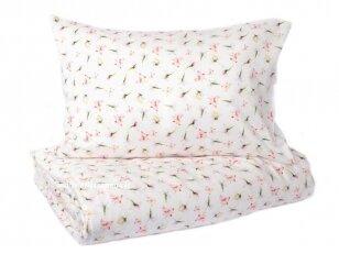 """Satino pagalvės užvalkalas """"Žiedų lietus"""" (pink) 50x70 cm (2 vnt.)"""