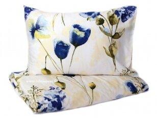 """Satino pagalvės užvalkalas """"Mėlynos gėlės"""" 50x70 cm (1 vnt. su užtrauktuku)"""