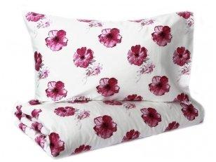 """Satino patalynės komplektas  """"Purpurinės Gėlės"""" (140x205 cm)"""