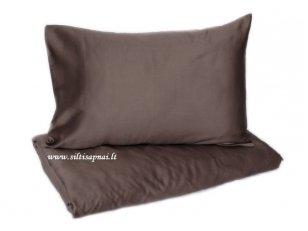 "Satino patalynės komplektas  ""DISCOVERY"" (brown) (140x200 cm, 50x70 cm)"