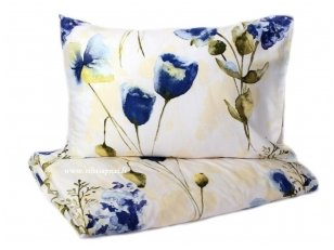 "Satino patalynės komplektas  ""Mėlynos gėlės"" (205x225 cm su užtrauktuku (1vnt), 50x70 cm (2 vnt))"