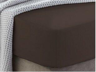 """Siuvama medvilnės paklodė su guma """"Chocolate brown"""""""