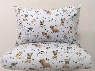 """Siuvama patalynė vaikams """"Šuniukai""""  (110x140 cm, 40x60 cm)"""