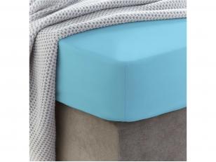 Siuvama vaikiška medvilnės paklodė su guma (Blue topaz)