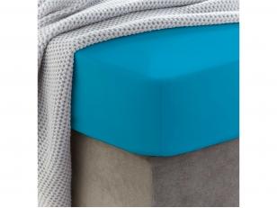 Siuvama vaikiška medvilnės paklodė su guma (Vivid blue)