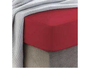 Siuvama vaikiška medvilnės paklodė su guma (Pompeian red)