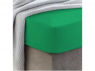 Siuvama vaikiška medvilnės paklodė su guma (Kelly green)