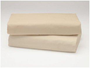 Siuvama vaikiška medvilnės paklodė su guma (smėlinė)