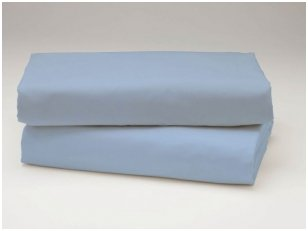 Siuvama vaikiška medvilnės paklodė su guma (pilkai žydra)
