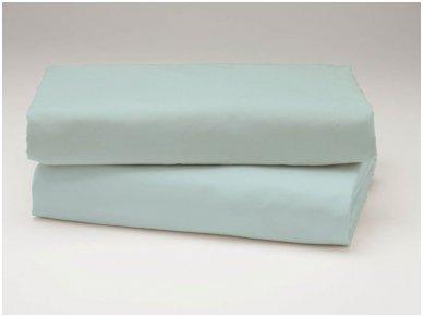 Siuvama vaikiška medvilnės paklodė su guma (gesinta žydra)