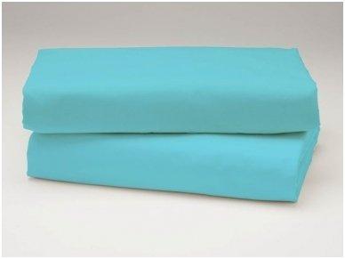 Siuvama vaikiška medvilnės paklodė su guma (žydra)