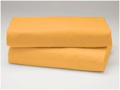 Siuvama vaikiška medvilnės paklodė su guma (geltona)