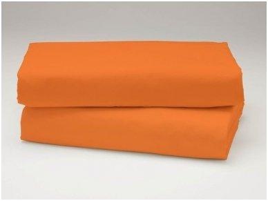 Siuvama vaikiška medvilnės paklodė su guma (oranžinė)