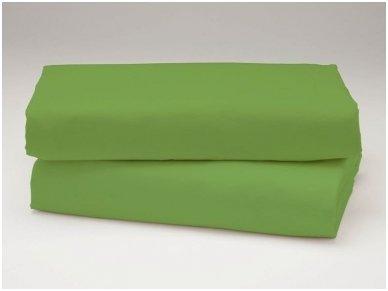 Siuvama vaikiška medvilnės paklodė su guma (tamsiai žalia)