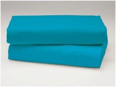 Siuvama vaikiška medvilnės paklodė su guma (mėlyna)