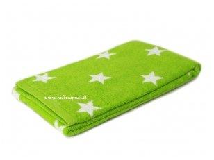 """Šukuotinės medvilnės rankšluostis """"Stars"""" (green)"""