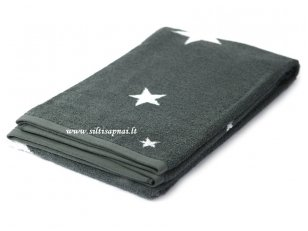 """Šukuotinės medvilnės rankšluostis """"Stars"""" (grey) 85x200 cm"""