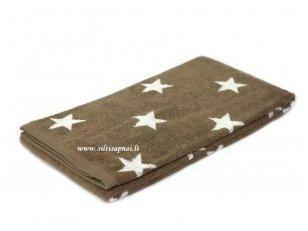 """Šukuotinės medvilnės rankšluostis """"Stars"""" (brown)"""