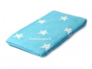 """Šukuotinės medvilnės rankšluostis """"Stars"""" (turquoise) 85x200 cm"""