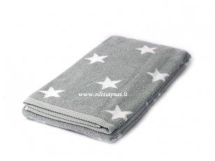 """Šukuotinės medvilnės rankšluostis """"Stars"""" (grey)"""