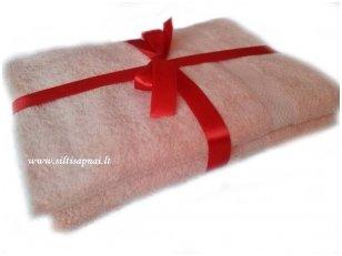 Šukuotinės medvilnės vonios rankšluosčių rinkinys (persikinis)